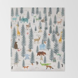 little nature woodland Throw Blanket