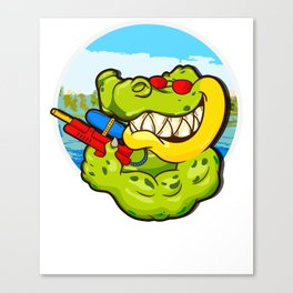 Alligator Ready To Get Soaking Fun For Summer Water Play Canvas Print