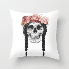 Festival skull Throw Pillow