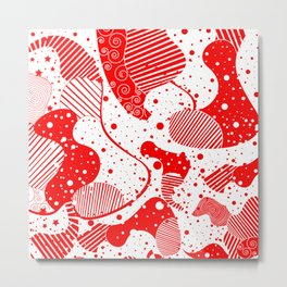 Red & White Modern Abstract Design Metal Print