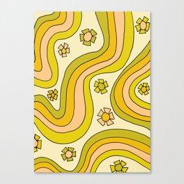 groovy rainbow flower power wallpaper vibes Canvas Print