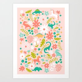 Dinosaurs + Unicorns in Pink + Teal Art Print