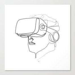 """Gaming Collection "" - Man Wearing Virtual Reality Goggles Canvas Print"