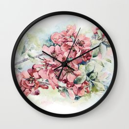 Flowering Japanese quince Wall Clock
