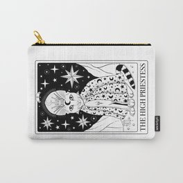 The High Priestess Tarot Card As a Cat Black and White Carry-All Pouch