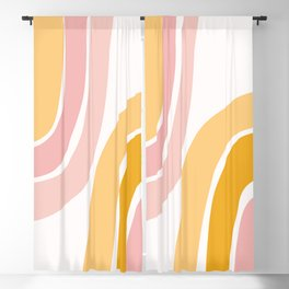 Abstract Shapes 37 in Mustard Yellow and Pale Pink Blackout Curtain
