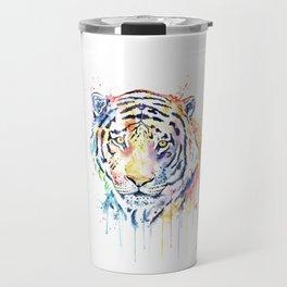 Tiger - Rainbow Tiger - Colorful Watercolor Painting Travel Mug