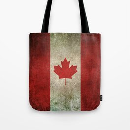 Old and Worn Distressed Vintage Flag of Canada Tote Bag