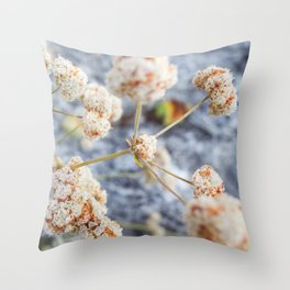 Pink and Peach Flowers Throw Pillow