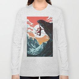 Rock Climbing Girl Vector Art Long Sleeve T-shirt