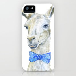 Llama with a Bow Tie Watercolor iPhone Case