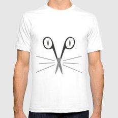 scissors cat White MEDIUM Mens Fitted Tee