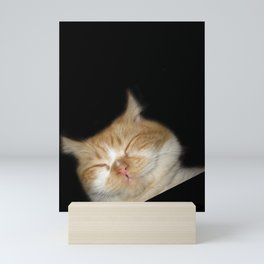Funny Sleeping Cat Mini Art Print