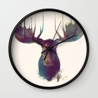 gray pattern Wall Clocks featuring Moose by Amy Hamilton