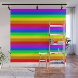 Rainbow flag, Horizontal Stripes version Wall Mural