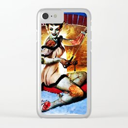 Zombie Pin Up Clear iPhone Case