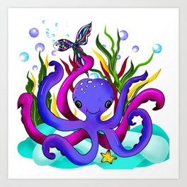 Octopus illustration Art Print