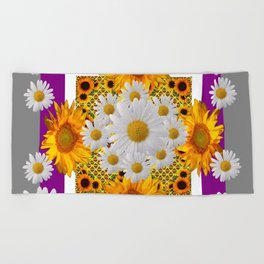 GREY & WHITE DAISIES FLORAL ABSTRACT & YELLOW SUNFLOWERS Beach Towel
