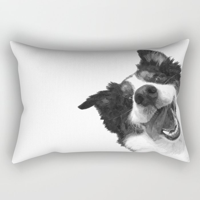 Black and White Happy Dog Rectangular Pillow