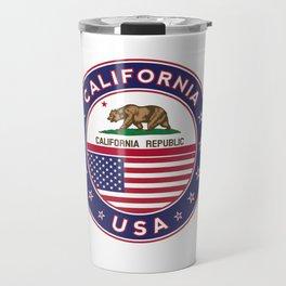 California, California t-shirt, California sticker, circle, California flag, white bg Travel Mug
