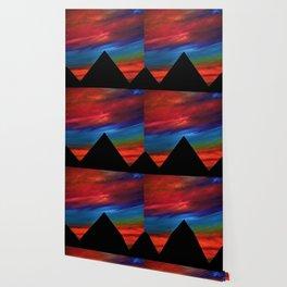 Fire Sky - Pyramids Silhouette Wallpaper