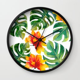 Monstera And Hibiscus Wall Clock