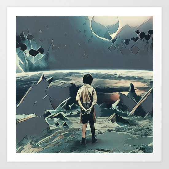 Lonely boy in cosmos Art Print
