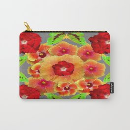 Kiwi Green Butterflies Red-Golden-pink Tropical Hibiscus Abstract Art Carry-All Pouch