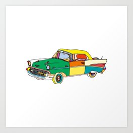 Classic Car Illustration Art Print