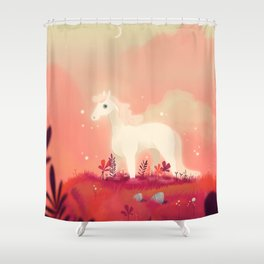 White Horse on the Pink Prairie Shower Curtain