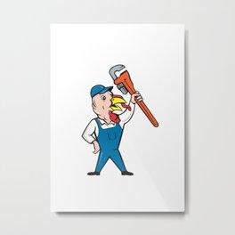 Turkey Plumber Monkey Wrench Cartoon Metal Print