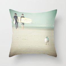 Bird Surfing Throw Pillow