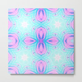Pink & Blue Star Explosion Pastel Pattern Metal Print