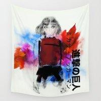 shingeki no kyojin Wall Tapestries featuring  ミカサ・アッカーマン by Sara Eshak