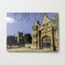 Cotswold Gatehouse & Church. Metal Print
