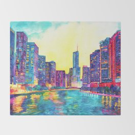Chicago River Throw Blanket