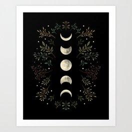 Moonlight Garden - Olive Green Art Print