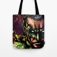green lantern Tote Bags featuring Green Lantern by Vincent Vernacatola