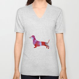Pink watercolor dachshund Unisex V-Neck