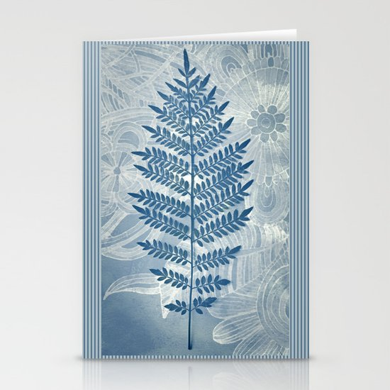 Jacaranda Leaf in Blue, Cream, Grey Stationery Cards
