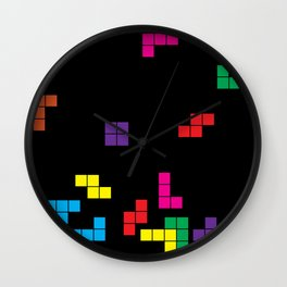 tetris on black Wall Clock