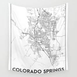 Minimal City Maps - Map Of Colorado Springs, Colorado, United States Wall Tapestry