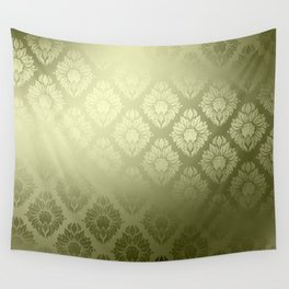 """""""Olive Damask Pattern"""" Wall Tapestry"""