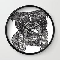 english bulldog Wall Clocks featuring  Inspired English Bulldog by DiAnne Ferrer