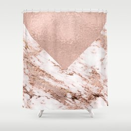 Pastel pink warm rose marble Shower Curtain