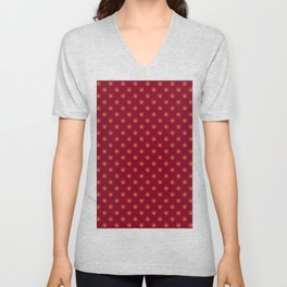 Electric Yellow on Burgundy Red Snowflakes Unisex V-Neck