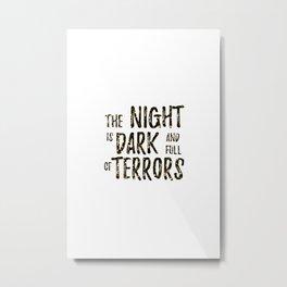 The Night is Dark Glitter Metal Print