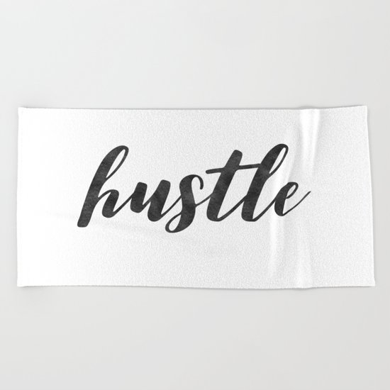 Hustle Text on Marble Black and White Beach Towel