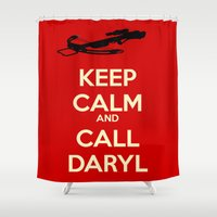 daryl Shower Curtains featuring Call Daryl by Lost Link Art