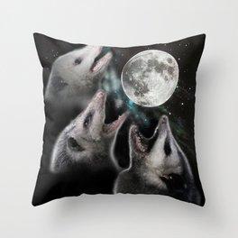 3 opossum moon Throw Pillow